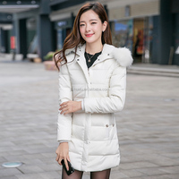 2015 new coming winter middle-long hollow cotton-padded slim thickening faux fur collar coats clothes jackets for women female
