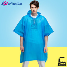 EVA riding transparent plastic rainwear rain poncho custom for adult with hood, drawstring in durable good quality