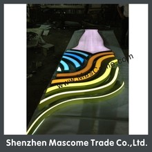 size, color,shape all are customizd 12V led sign for school, shop, hotel, cinema, company, bar front brand name sign