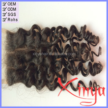 Factory Wholesale price Bleached Knots three part virgin curly peruvian lace closure