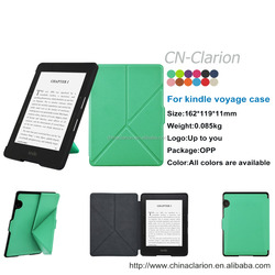 Top Quality New Arrival Magnetic Leather Case Cover For Amazon Kindle Voyage 6 inch Ereader Stand Origami Case, Mint Green