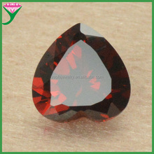 Good quality Heart garnet cz gems in stock