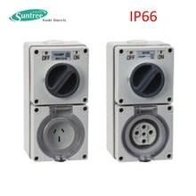 SAA single phase 15 amp switched socket, 3flat pin combination switch socket outlet Socket Combined Outlet