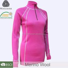 women's 1/4 zipper merino wool thermal wear