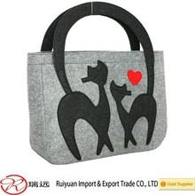 Cute cat design felt women bag , women handbag ,shoulder bag new for 2015