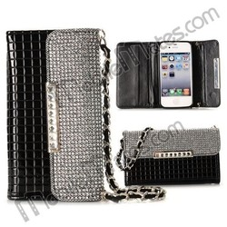 2015 Cheap Diamond Crystal Foldable Flip Handbag TPU+PU Leather Case for iPhone 4S with Strap