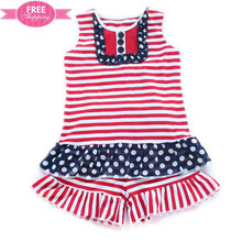 Shij red striped navy polka dots girls boutique clothing giggle moon remake outfits