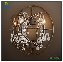 Crystal&iron glass vintage wall lamp /hotel modern crystal round wall lamp