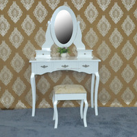 Wood world furniture cost white lacquer solid wood dresser table
