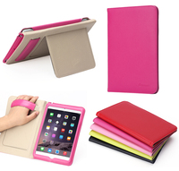 Ultra slim smart leather back cover case for iPad mini 4 ,leather case with hand holder
