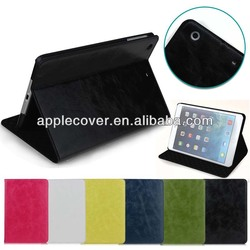 Best Quality Crazy Horse PU Flip Case for iPad Mini 1/2/3 with Stand Function