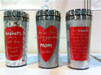 2014 travel mug with outer s/s shell and inner plastic