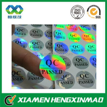 New product 2015 Holographic laser type 3d qc sticker