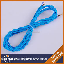 Dark blue twisted fabric lighting flex electric cable, twisted fabric lamp cord textile