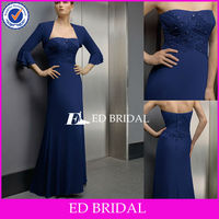 Strapless Ruched Royal Blue Chiffon Mother Of The Bride Evening Sequins Beaded Dresses