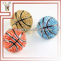 Basketball Rhinestone Ring