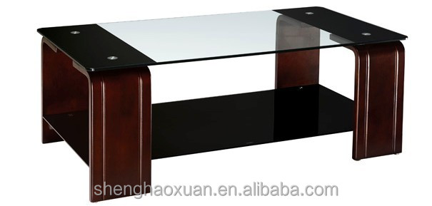 New Arrival Modern Design Glass Center Table Wooden Tea