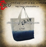 2014 Dip-dye Canvas Tote bag with dirty marks for shopping
