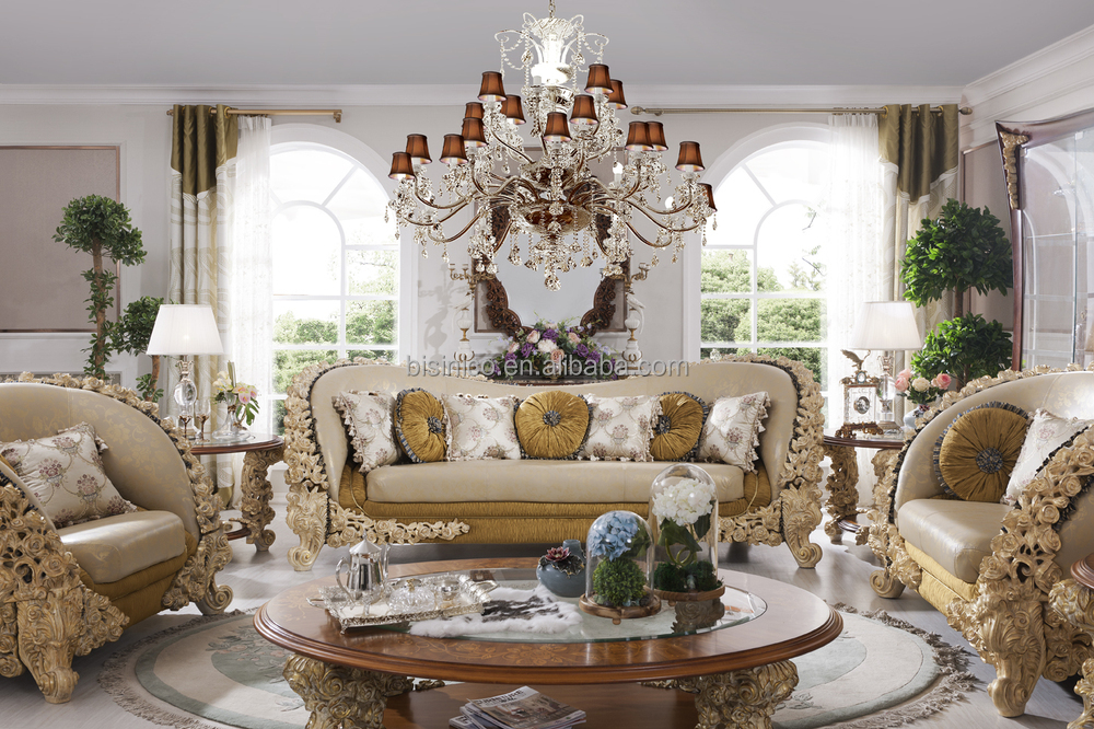 French Style Luxury Living Room Wooden Sofa Furniture