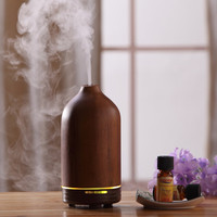 Wooden ultrasonic aroma diffuser, essential oil diffuser,aromatherapy nebulizer w/adjustable mist output & lack water protection