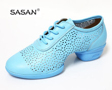 New Arrival Colored Genuine Leather Woman Hollow Out Sneaker Split Sole Dance Shoes 8212