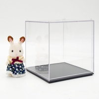 "Clear Acrylic/Plastic doll Box for Display Case Dustproof Tray Protection Cube 3.9""H"