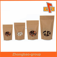Food grade biodegradable brown kraft paper bags for food with window and zipper packaging