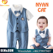 wholesale high quality new born baby romper suit one-pieces polka boys rompers with bowtie