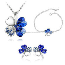 2015 Fashionable Blue Lucky Crystal Jewelry Set