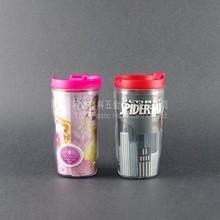 Artículo promocional doble pared del vaso / logotipo personalizado de la publicidad de colores impreso copa de plástico