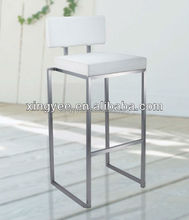 modern stainless steel bar chair metal high chair white leather stackable bar stool