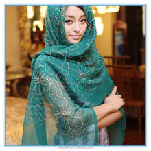 2015 hot sale fashion real silk and embroidery hijab scarf for woman