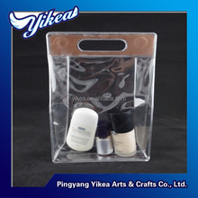 2015 PVC transparent cosmetic case &clear plastic gift bag with handle magnet closure