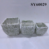 Brick like white clay pots terracotta