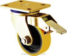 2015 hot sales swivel with brake heavy duty pu caster china supplier 4 inch