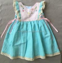 Baby Girls Boutique Aqua Blue Embroidered Linen Mimi's Attic Dress