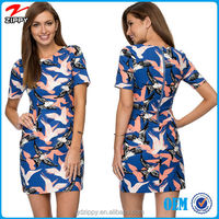 New arrival short sleeve bird print slip fit middle aged women fashion dress