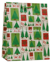 Fun Xmas Tree Joy Eco Christmas Paper Bag/Patched Pattern Gift Paper Bag