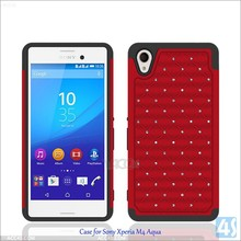 2015 most hot selling item protective Bling Crystal silicone+rubber combo phone case For Sony M4