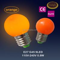 1w 0.8w 0.5w e27 b22 led color ball bulb plastic lamp base