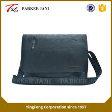 Black elephant pattern pu leather messenger bag for men