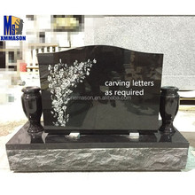 Black Marble Headstones with Cemetery Flower Urn