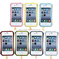 2 in 1 Double Protective Fashion bumper Case Cover for iphone 4/4S Luxury Metal Frame + TPU Phone frame case