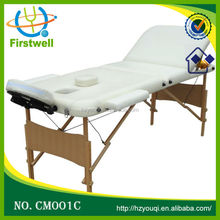 White Three Sections Wood Legs Massage Tables For Sale