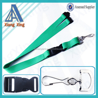 China wholesale solid blue lanyard with metal hook & buckle & safety clip