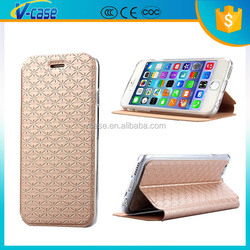 New arrival stand design pu leather case cover for iphone 6