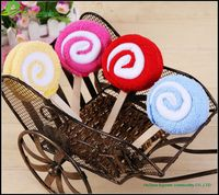 Beautiful design wedding lollipop 100% cotton fabric cake towel Cute Beauty Lollipop cake towels wedding souvenirs GVD08