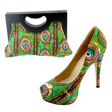 2014 new fashion wax print italy matching shoes and bags high wheel