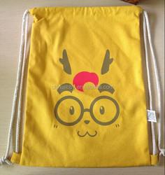 High Quality Cute Logo printing Cotton Drawstring Bag