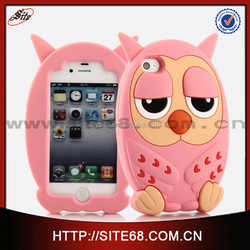 Mobile phone accessory 3d owl silicone rubber case for iphone 5